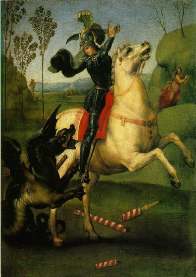 Raphael: Saint George Struggling with the Dragon. Fine Art Print/Poster. Sizes: A4/A3/A2/A1 (0025)